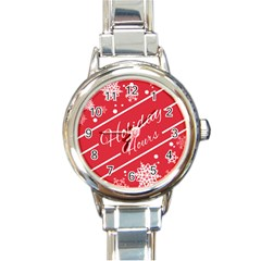 Winter Holiday Hours Round Italian Charm Watch