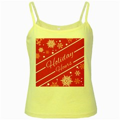 Winter Holiday Hours Yellow Spaghetti Tank
