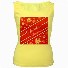Winter Holiday Hours Women s Yellow Tank Top