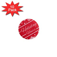 Winter Holiday Hours 1  Mini Magnet (10 pack)