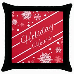 Winter Holiday Hours Throw Pillow Case (black)