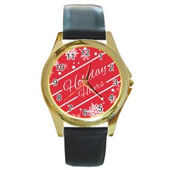 Winter Holiday Hours Round Gold Metal Watch