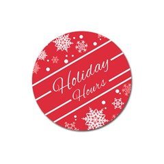 Winter Holiday Hours Magnet 3  (round)