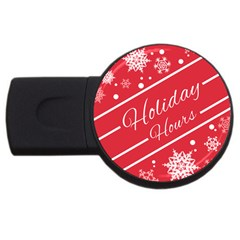 Winter Holiday Hours Usb Flash Drive Round (4 Gb)