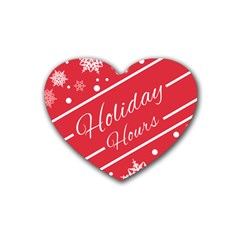 Winter Holiday Hours Rubber Coaster (heart)