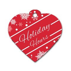 Winter Holiday Hours Dog Tag Heart (one Side)