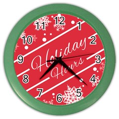 Winter Holiday Hours Color Wall Clocks