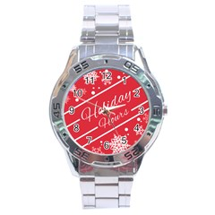 Winter Holiday Hours Stainless Steel Analogue Watch
