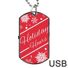 Winter Holiday Hours Dog Tag Usb Flash (one Side)