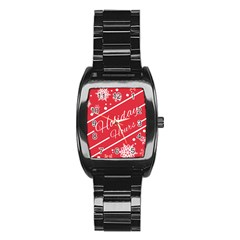 Winter Holiday Hours Stainless Steel Barrel Watch