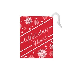 Winter Holiday Hours Drawstring Pouches (small)