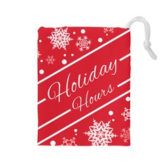 Winter Holiday Hours Drawstring Pouches (large)