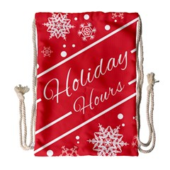 Winter Holiday Hours Drawstring Bag (large)