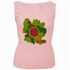 Green navigation Women s Pink Tank Top