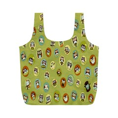 Owl Round Green Full Print Recycle Bags (m)