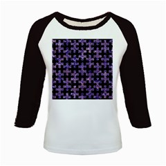Puzzle1 Black Marble & Purple Marble Kids Baseball Jersey