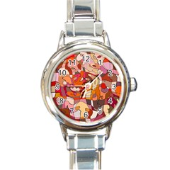 Abstract Abstraction Pattern Moder Round Italian Charm Watch