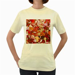 Abstract Abstraction Pattern Moder Women s Yellow T Shirt