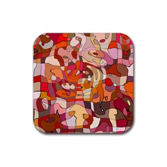 Abstract Abstraction Pattern Moder Rubber Square Coaster (4 Pack)