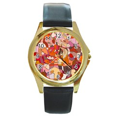 Abstract Abstraction Pattern Moder Round Gold Metal Watch