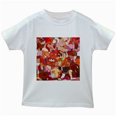 Abstract Abstraction Pattern Moder Kids White T Shirts