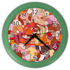 Abstract Abstraction Pattern Moder Color Wall Clocks