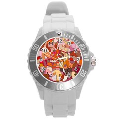 Abstract Abstraction Pattern Moder Round Plastic Sport Watch (l)