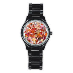 Abstract Abstraction Pattern Moder Stainless Steel Round Watch