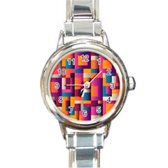 Abstract Background Geometry Blocks Round Italian Charm Watch