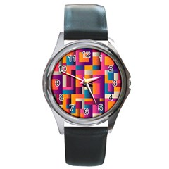 Abstract Background Geometry Blocks Round Metal Watch