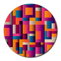 Abstract Background Geometry Blocks Round Mousepads