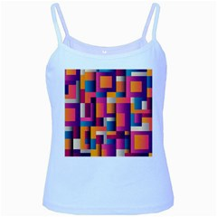 Abstract Background Geometry Blocks Baby Blue Spaghetti Tank