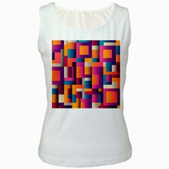 Abstract Background Geometry Blocks Women s White Tank Top