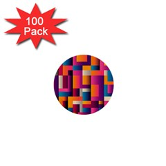 Abstract Background Geometry Blocks 1  Mini Buttons (100 Pack)