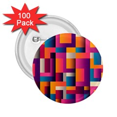 Abstract Background Geometry Blocks 2.25  Buttons (100 pack)