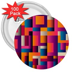 Abstract Background Geometry Blocks 3  Buttons (100 Pack)