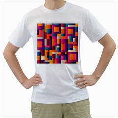 Abstract Background Geometry Blocks Men s T-Shirt (White) (Two Sided)