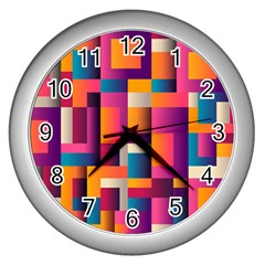 Abstract Background Geometry Blocks Wall Clocks (silver)