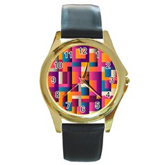 Abstract Background Geometry Blocks Round Gold Metal Watch