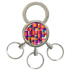 Abstract Background Geometry Blocks 3 Ring Key Chains