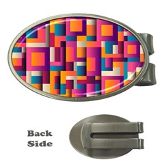 Abstract Background Geometry Blocks Money Clips (oval)