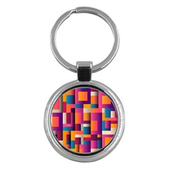 Abstract Background Geometry Blocks Key Chains (Round)