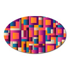 Abstract Background Geometry Blocks Oval Magnet