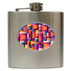 Abstract Background Geometry Blocks Hip Flask (6 oz)