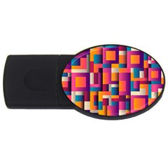 Abstract Background Geometry Blocks Usb Flash Drive Oval (2 Gb)