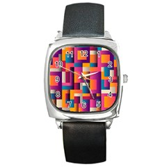 Abstract Background Geometry Blocks Square Metal Watch