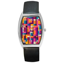 Abstract Background Geometry Blocks Barrel Style Metal Watch