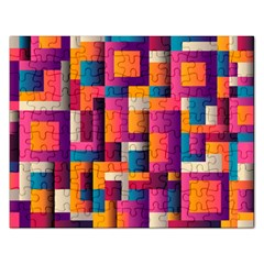 Abstract Background Geometry Blocks Rectangular Jigsaw Puzzl