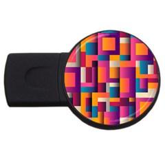 Abstract Background Geometry Blocks USB Flash Drive Round (4 GB)