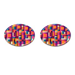 Abstract Background Geometry Blocks Cufflinks (oval)